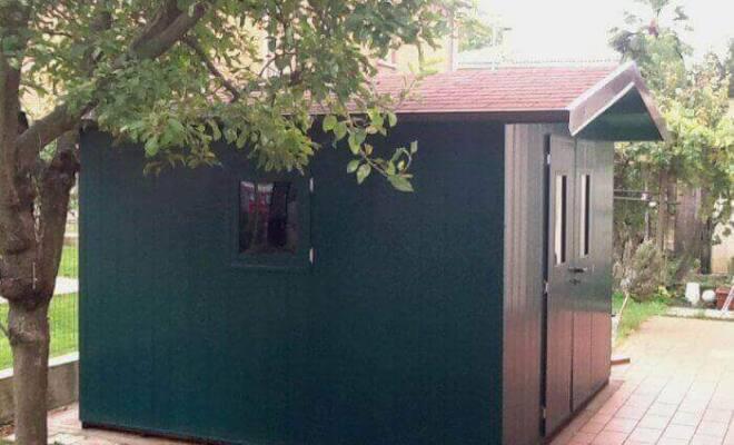 casetta verde pvc tetto legno large